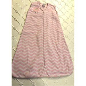 Halo Pink White Chevron Fleece Sleepsack 12-18M